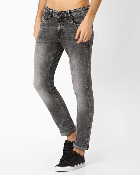 Slim Tapered Fit Jeans By AJIO ( Grey )