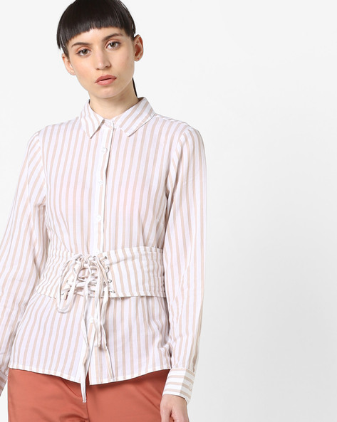 Striped Shirt With Waist Tie-Up By Oxolloxo ( Offwhite )