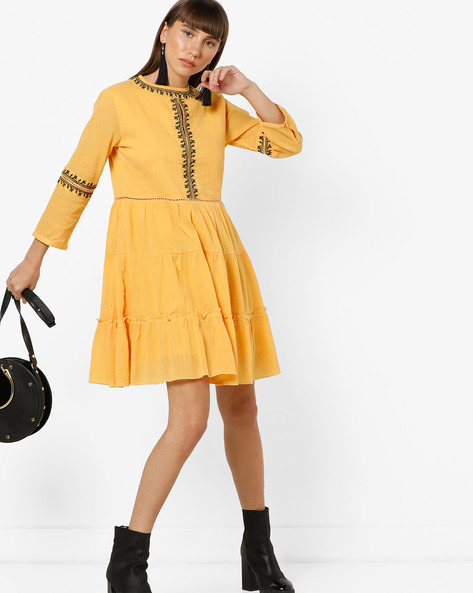 Tiered A-line Dress With Embroidery By AJIO ( Mustard )