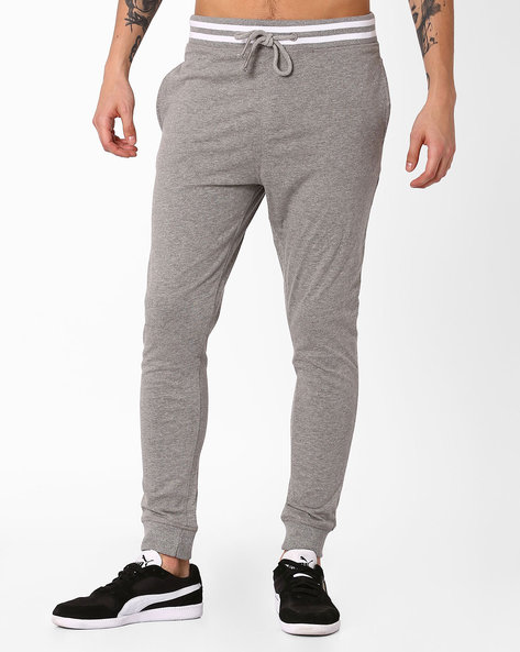 Jogger Fit Heathered Track Pants By BASICS ( Grey )