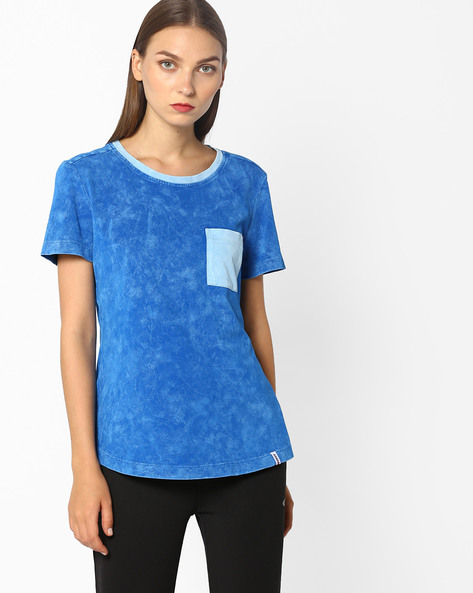 Crew-Neck T-shirt With Patch Pocket By 2Go ( Blue )