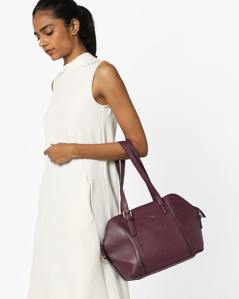 Polish Panelled Handbag With Detachable Sling Strap By Lavie ( Purple )