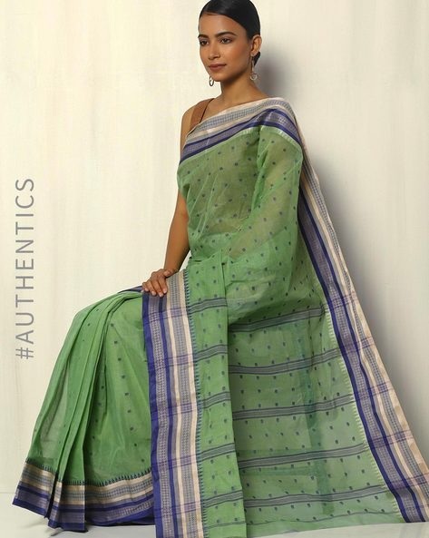 Bengal Handloom Tant Tangail Buti Cotton Saree By Indie Picks ( Green )