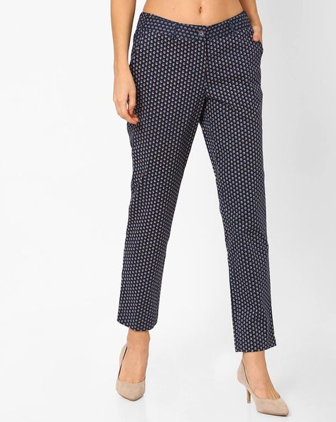 Printed Flat-Front Trousers By AJIO ( Navyblue )