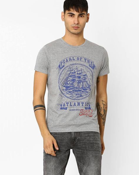 Graphic Print Slim Fit T-shirt By ADAMO LONDON ( Greymelange ) - 460046877004