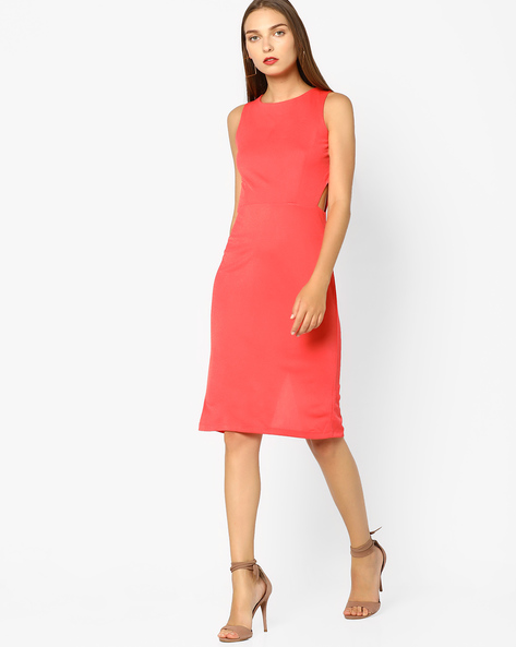 Bodycon Dress With Cut-Out By AJIO ( Coral ) - 460055657009