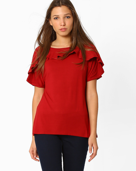 Boat-Neck Top With Kimono Sleeves By Femella ( Maroon )