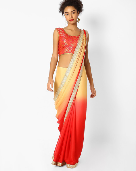Colourblock Saree With Embroidered Border By Majestic Silk ( Red )