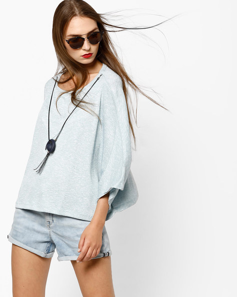 Boxy Top With Bell Sleeves By AJIO ( Lightblue )