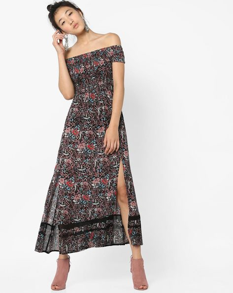 Floral Print Off-Shoulder Dress By Ginger By Lifestyle ( Multi )