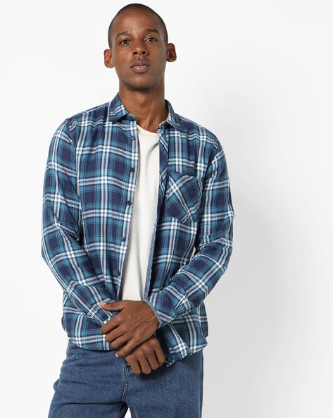 Checked Shirt With Patch Pocket By Pepe Jeans ( Blue ) - 460098066004