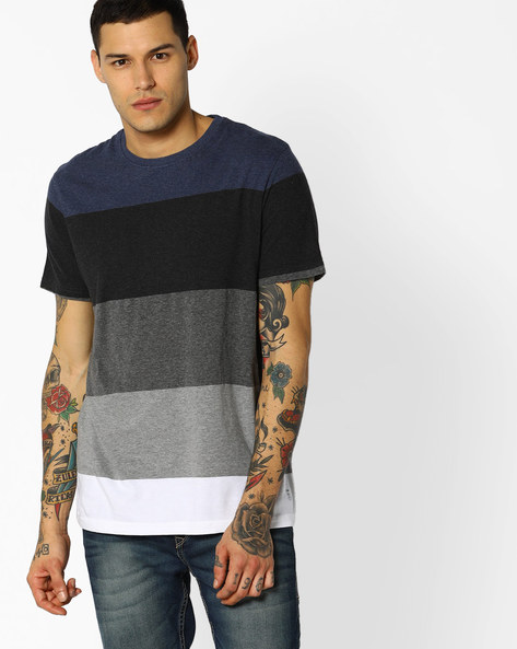 Colourblock Crew-Neck T-shirt By INDIAN TERRAIN ( Navyblue )