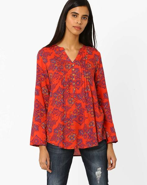 Printed Top With Curved Hem By Akkriti By Pantaloons ( Orange )