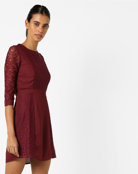 Skater Dress With Lace Insets By Oxolloxo ( Maroon )