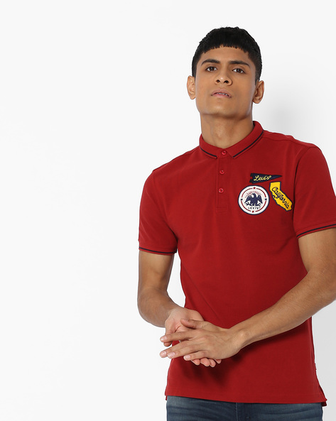 Polo T-shirt With Appliqué Branding By LEVIS ( Black )
