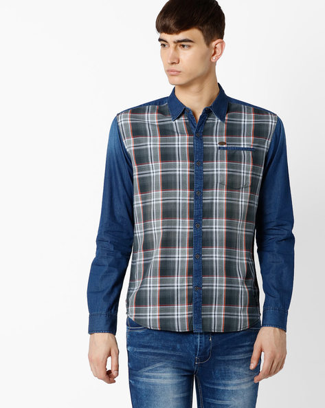 Slim Fit Checked Shirt With Patch Pocket By DNM X ( Black )