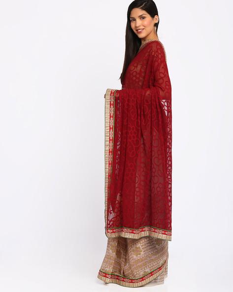 Half & Half Silk Saree By Lookslady ( Maroon )