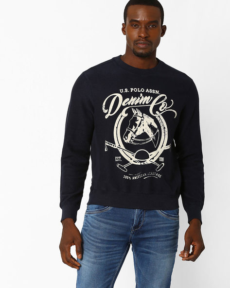 Printed Cotton Sweatshirt By US POLO ( Navy )