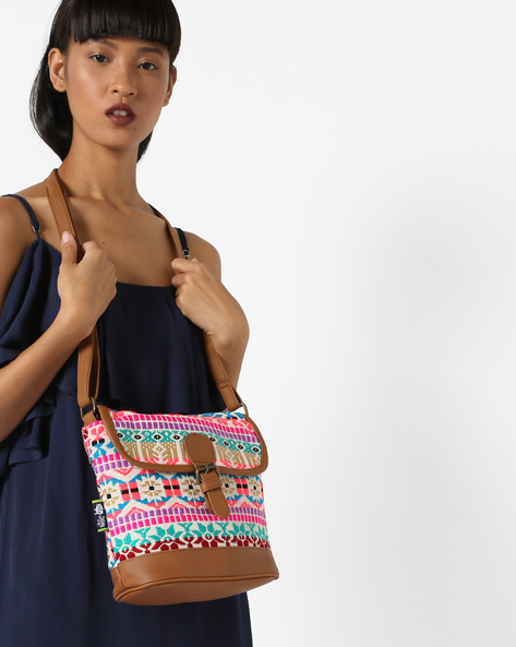 Jacquard Weave Sling Bag By Kanvas Katha ( Tan )