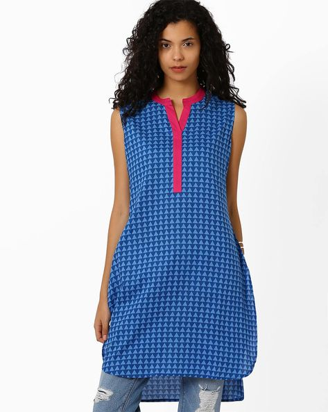 High-Low Kurta With Contrast Taping By AJIO ( Blue )