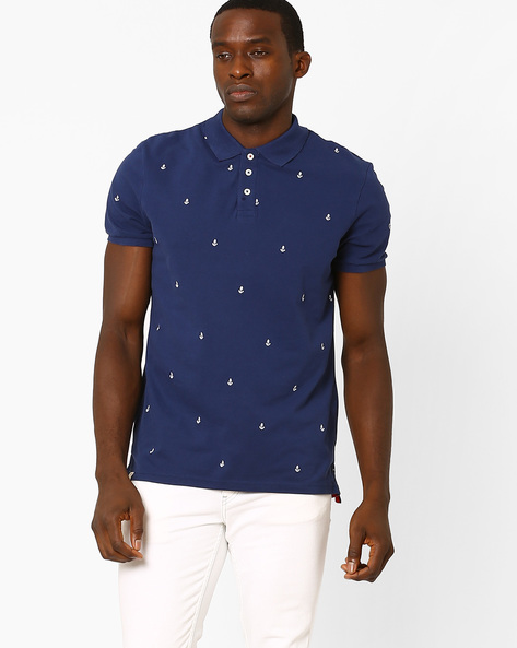 Polo T-shirt With Vented Hem By Celio ( Navyblue )