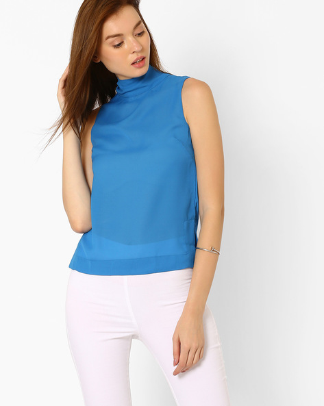 High-Neck Sleeveless Top By CHEMISTRY ( Blue )