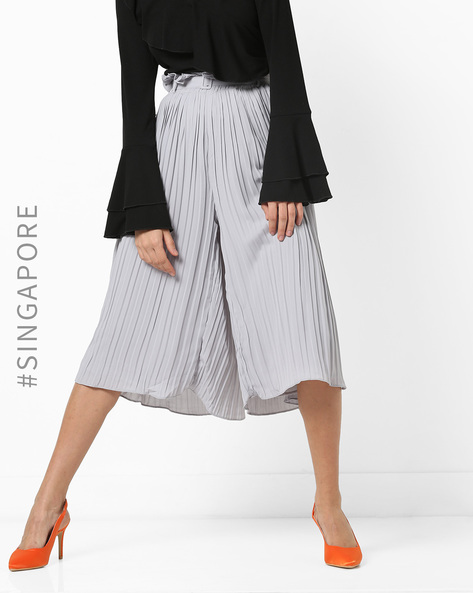 Pleated Ruffled Culottes With Detachable Belt By MDS ( Grey )