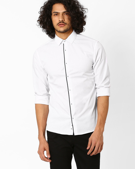 Slim Fit Shirt With Contrast Piping By Celio ( White )