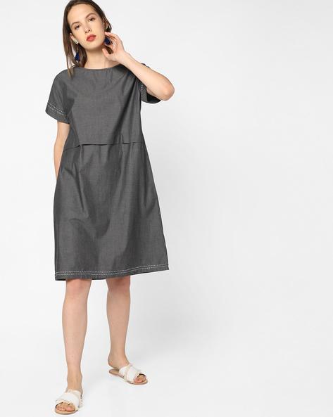 Shift Dress With Upturned Hems By AJIO ( Grey )