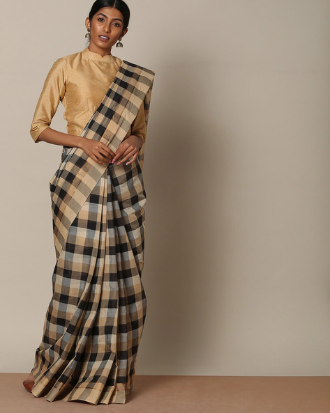 Kanchi Cotton Checked Saree With Zari Border By Indie Picks ( Multi )