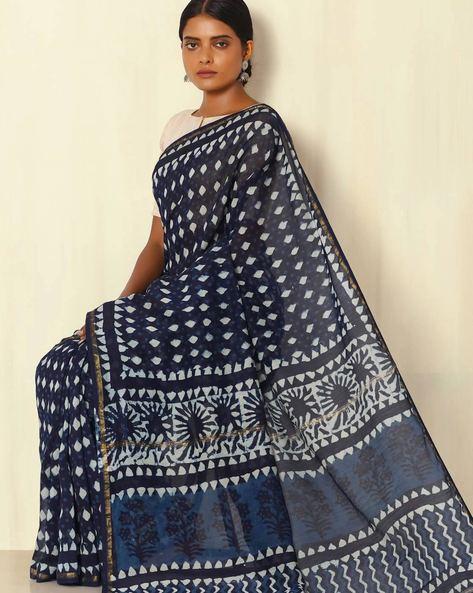 Handblock Print Indigo Chanderi Saree With Zari Border By Indie Picks ( Indigo ) - 460053741001