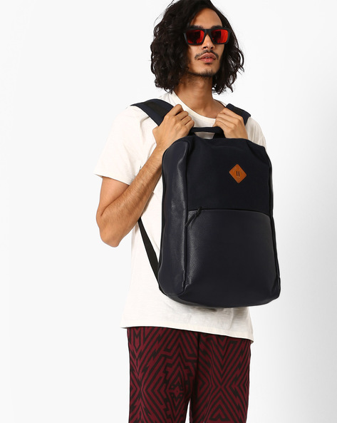Canvas Laptop Backpack By AJIO ( Navy )
