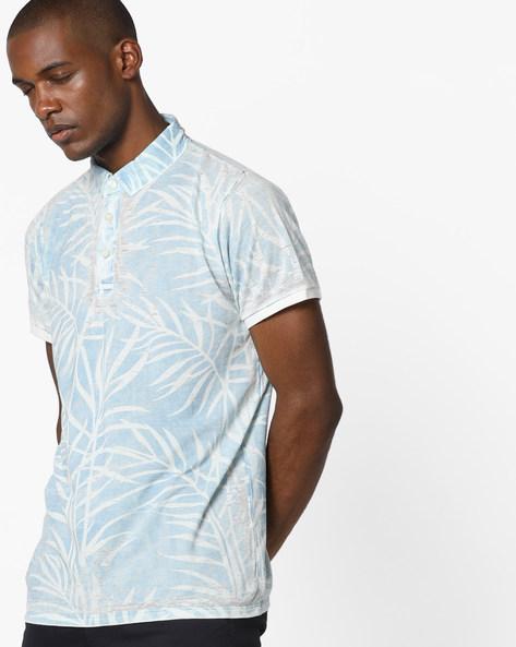 Tropical Print Polo T-shirt By RexStraut JEANS ( Blue )
