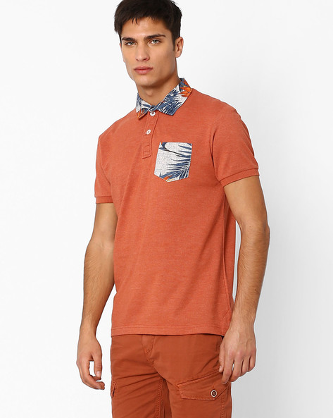Polo T-shirt With Printed Collar & Pocket By DNM X ( Rust )