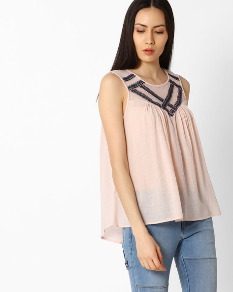 Sleeveless Top With Mesh Yoke By Vero Moda ( Pink )