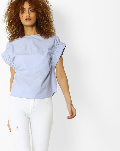 Blouson Top With Pleated Cap Sleeves By Blue Saint ( Lightblue )