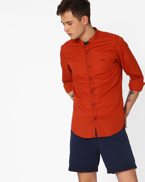 Slim Fit Shirt With Mandarin Collar By MUFTI ( Rust )