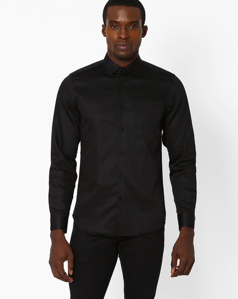 Slim Fit Cotton Shirt By Black Coffee ( Black )