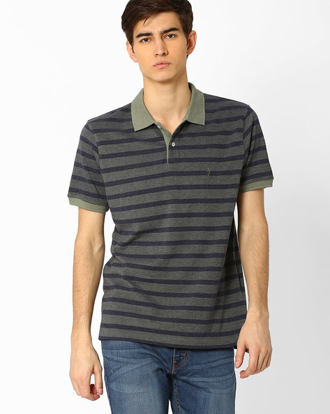 Striped T-shirt With Spread Collar By INDIAN TERRAIN ( Lightgreen )