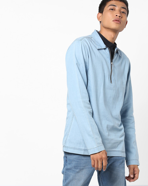 Cotton Shirt With Zip Placket By Blue Saint ( Lightblue )