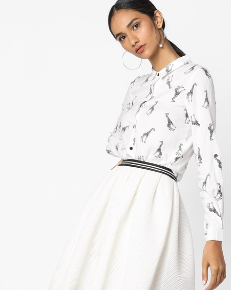 Printed Shirt With Full Sleeves By Ginger By Lifestyle ( Offwhite )