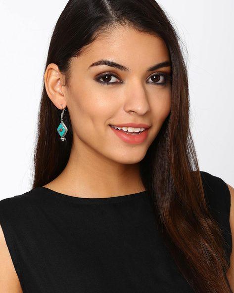 Nepali Stone Dangler Earrings By Indie Picks ( Blue )