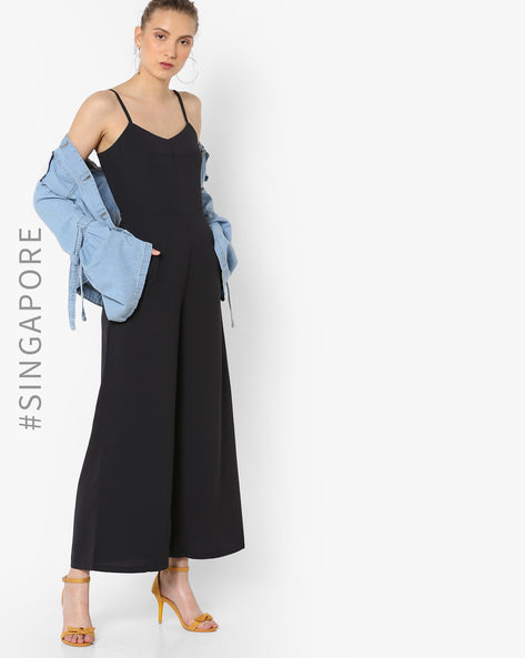 Strappy Jumpsuit With Pockets By MDS ( Navyblue )
