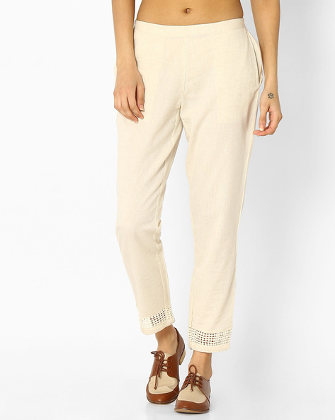 Ankle-Length Pants With Pockets By Melange By Lifestyle ( Offwhite )
