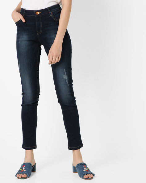 Mid-Rise Washed Distressed Jeans By UNITED COLORS OF BENETTON ( Darkblue )