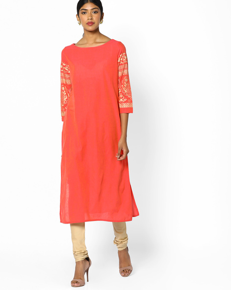 Straight Kurta With Printed Sleeves By Melange By Lifestyle ( Coral )