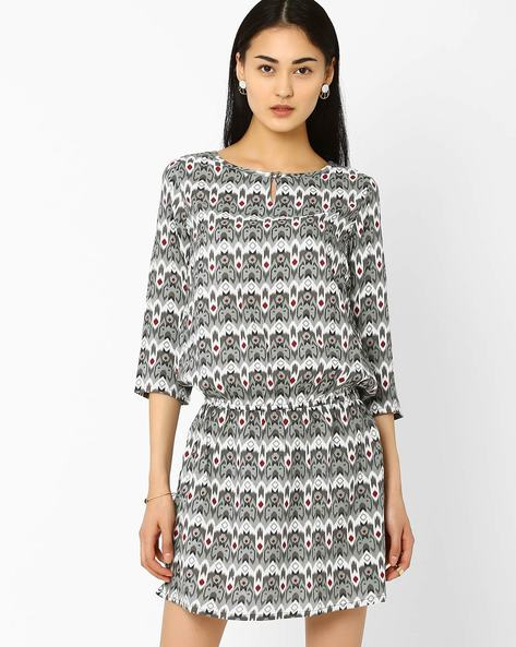 Printed Drop-Waist Dress By AJIO ( Grey )