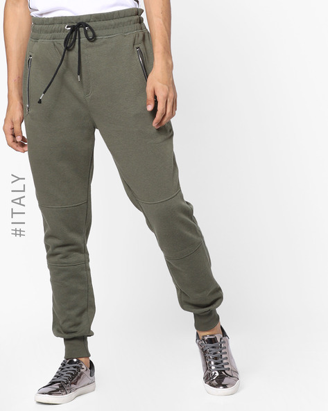 Joggers With Elasticated Drawstring Waist By ALCOTT ( Khaki )