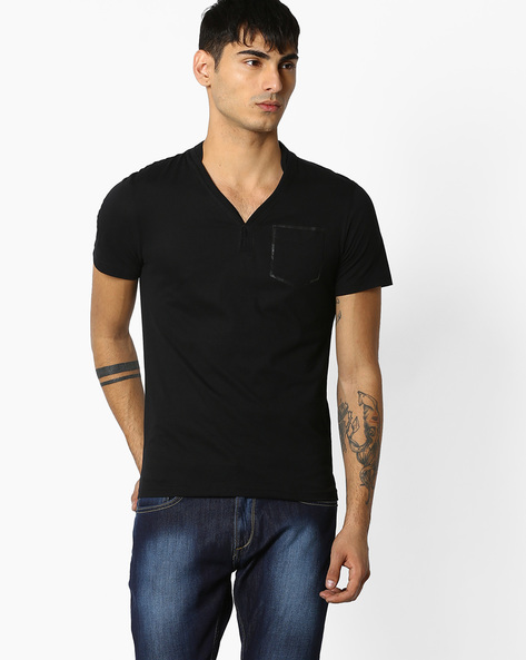 Regular Fit T-shirt With Patch Pocket By Celio ( Black )