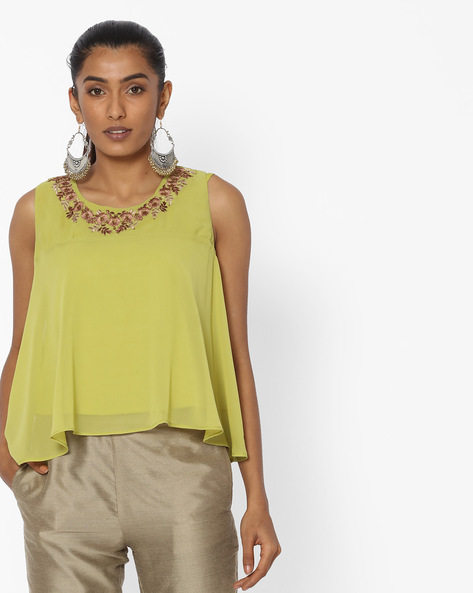 Swing Top With Floral Embroidery By AJIO ( Limegreen )